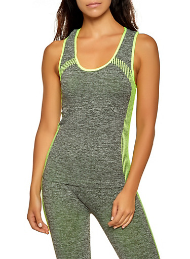Marled Striped Detail Active Tank Top,LIME,large