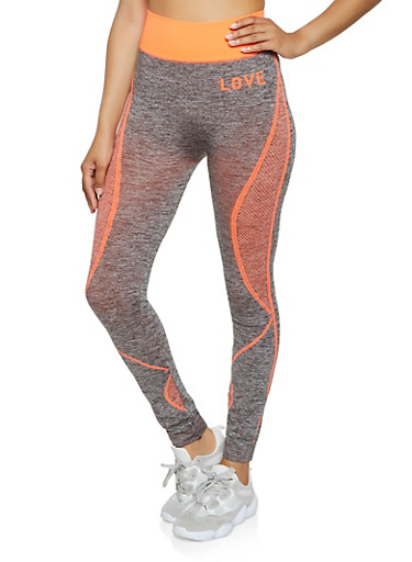 Love Mesh Print Leggings,CORAL,large