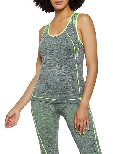 Striped Detail Active Racerback Tank Top,LIME,large