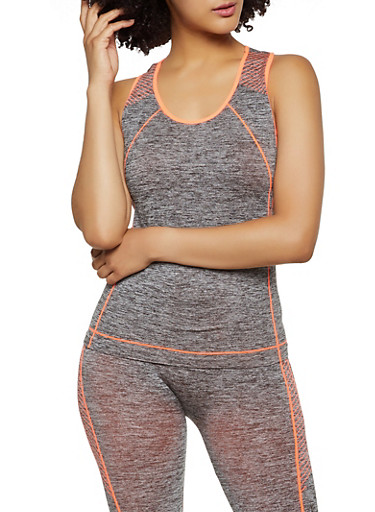 Striped Detail Active Racerback Tank Top,CORAL,large
