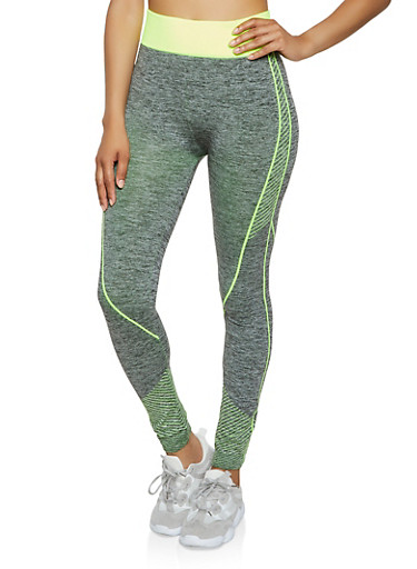 Striped Detail Seamless Active Leggings,LIME,large