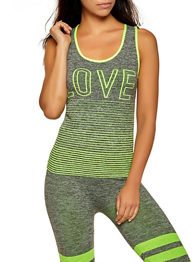 Love Striped Detail Tank Top,LIME,large