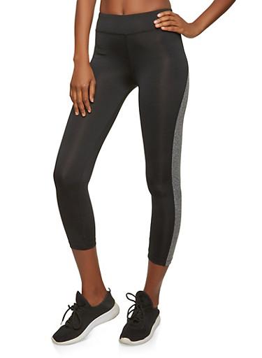 Cropped Color Block Activewear Leggings,BLACK,large