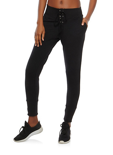 Lace Up Front Joggers,BLACK,large