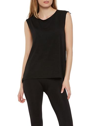 Split Mesh Back Activewear Top,BLACK,large