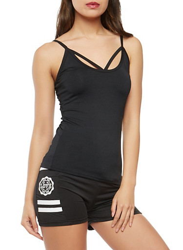 Caged Detail Active Cami,BLACK,large