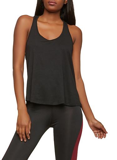 Braided Racerback ActivewearTank Top,BLACK,large