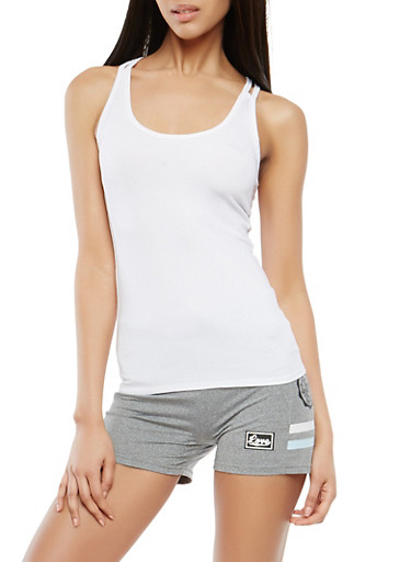 Criss Cross Back Activewear Cami,WHITE,large