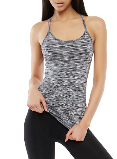Marled Racerback Activewear Cami,BLACK/WHITE,large