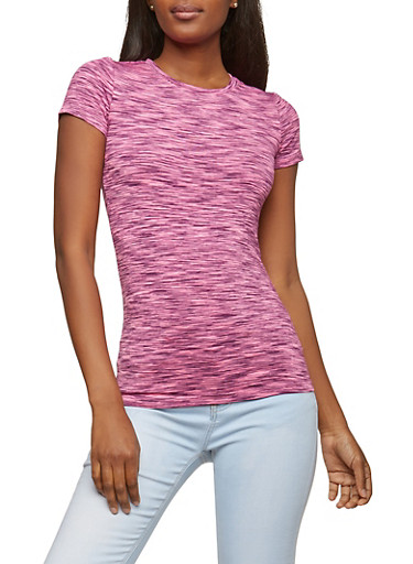Space Dye Active Tee,FUCHSIA,large