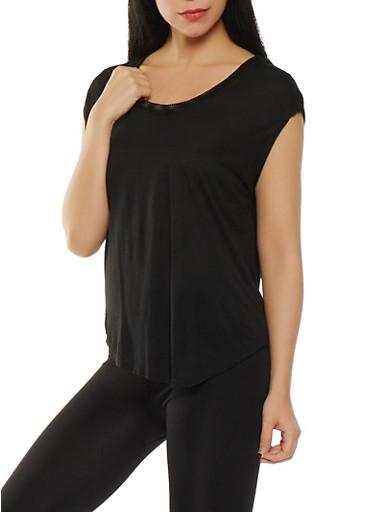 Mesh Back Activewear Top,BLACK,large