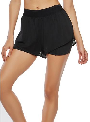 Double Layered Jersey Mesh Shorts,BLACK,large