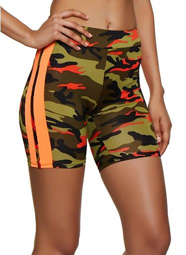Camo Varsity Stripe Bike Shorts,OLIVE,large