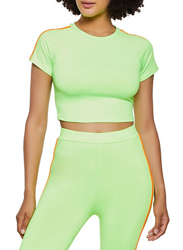 Varsity Stripe Neon Crop Top,NEON LIME,large