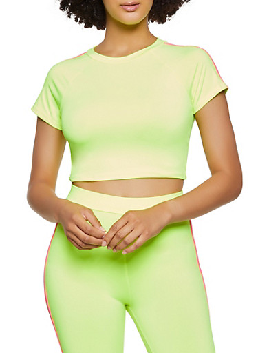 Varsity Stripe Neon Crop Top,NEON YELLOW,large
