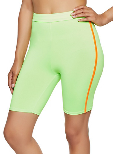 Varsity Stripe Neon Bike Shorts,NEON LIME,large