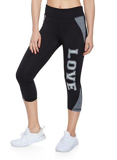 Love Cropped Active Leggings,BLACK,large