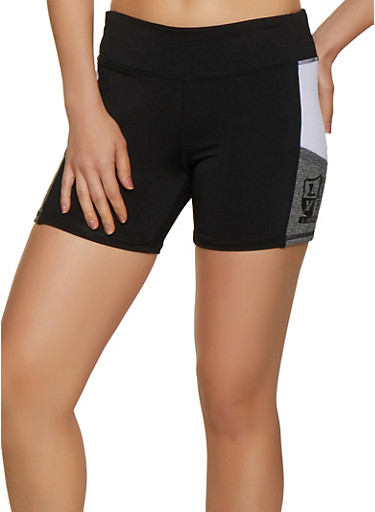 Love Color Block Bike Shorts,BLACK,large