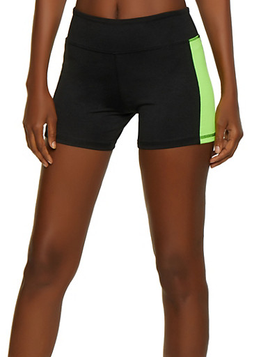 Color Block Bike Shorts,BLACK,large