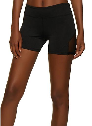 Mesh Insert Active Bike Shorts,BLACK,large
