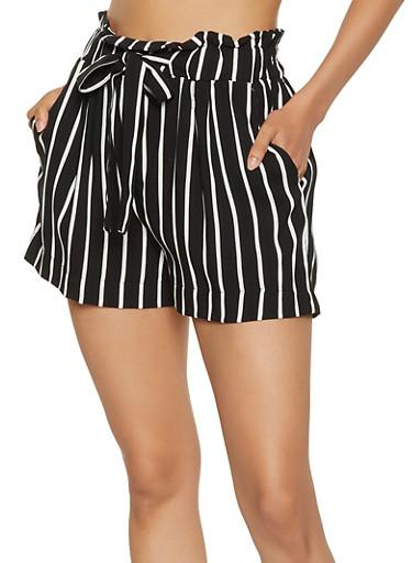 Striped Paper Bag Waist Shorts,BLACK/WHITE,large