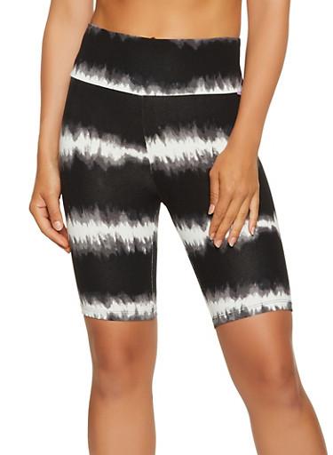 Tie Dye Striped Biker Shorts,BLACK,large