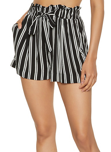 Vertical Stripe Paper Bag Waist Shorts,BLACK/WHITE,large