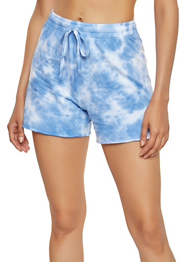 Tie Dye French Terry Shorts,BLUE,large