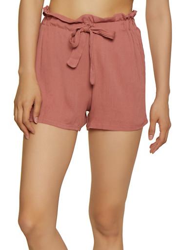 Lightweight Paper Bag Waist Shorts,MAUVE,large