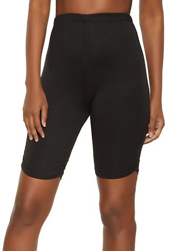 Ruched Bermuda Biker Shorts,BLACK,large