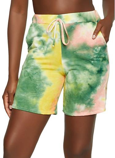 Tie Dye Bermuda Shorts,OLIVE,large