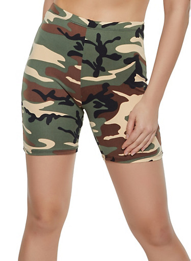 Camo Soft Knit Bike Shorts,OLIVE,large