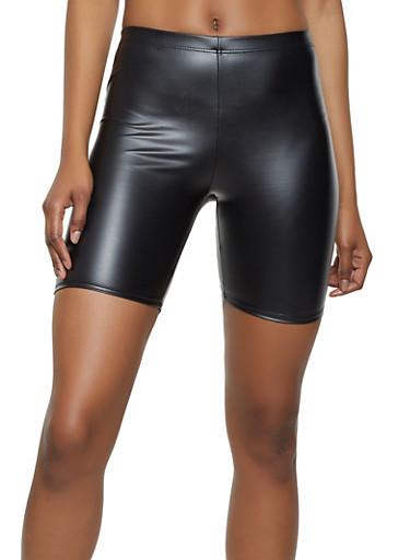 Faux Leather Bike Shorts | 0060074015004,BLACK,large
