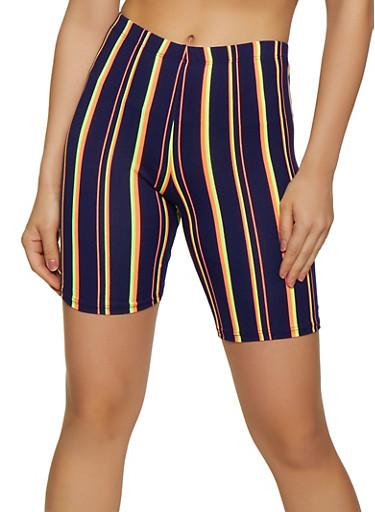 Striped Soft Knit Bike Shorts | 0060074015005,NAVY,large