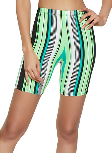 Soft Knit Striped Bike Shorts,NEON LIME,large