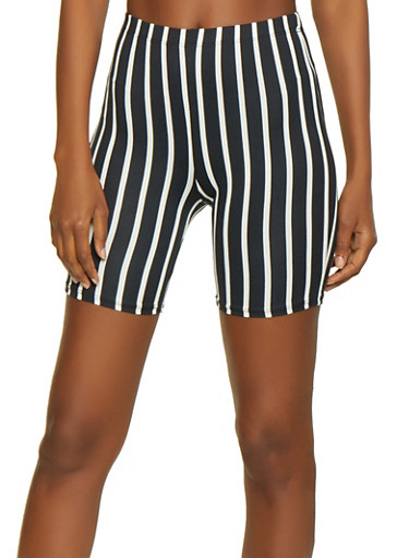 Multi Color Stripe Bike Shorts,BLACK/WHITE,large