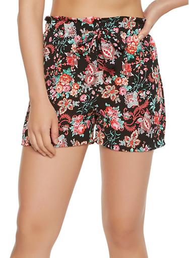 Floral Crepe Knit Shorts,BLACK,large