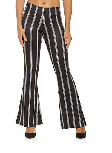 Striped Flared Palazzo Pants,BLACK/WHITE,large