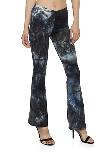Tie Dye Soft Knit Flared Pants,BLACK,large