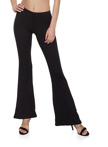 Solid Soft Knit Flared Pants,BLACK,large