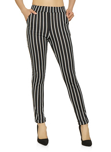 Striped Fixed Cuff Dress Pants,BLACK/WHITE,large