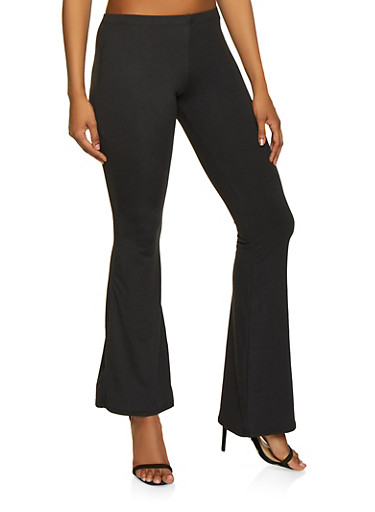 Soft Knit Flared Pants,BLACK,large