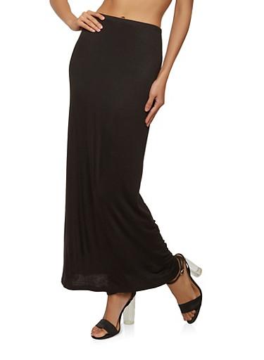 High Waisted Maxi Skirt,BLACK,large