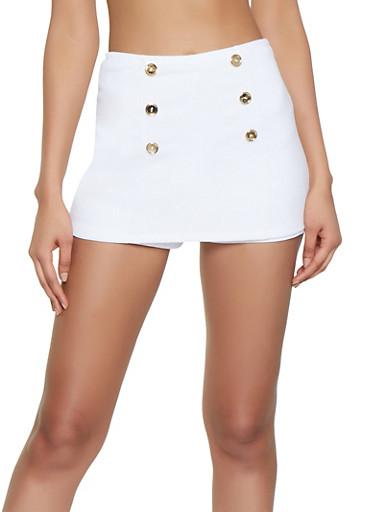 Solid Sailor Skort,WHITE,large