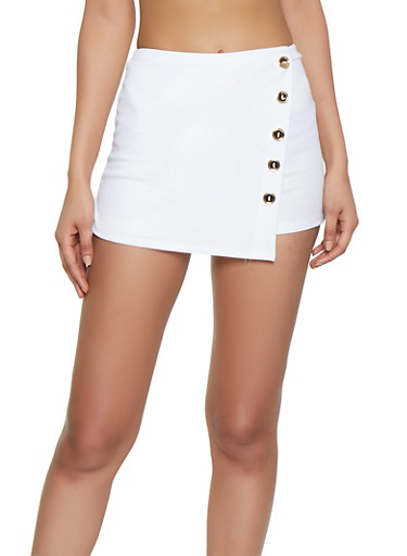 Solid Crepe Knit Skort,WHITE,large