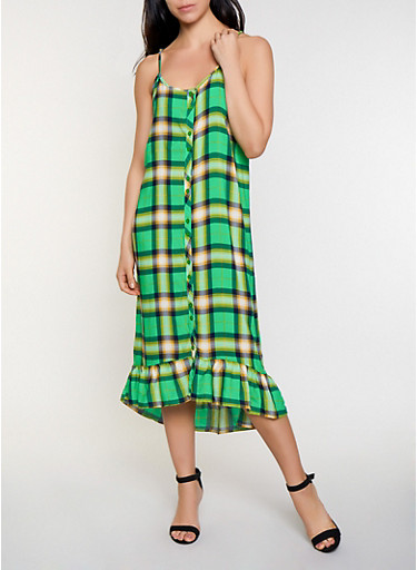 Plaid Button Front Shift Dress,GREEN,large