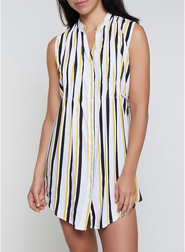 Vertical Stripe Tie Waist Shirt Dress,MUSTARD,large