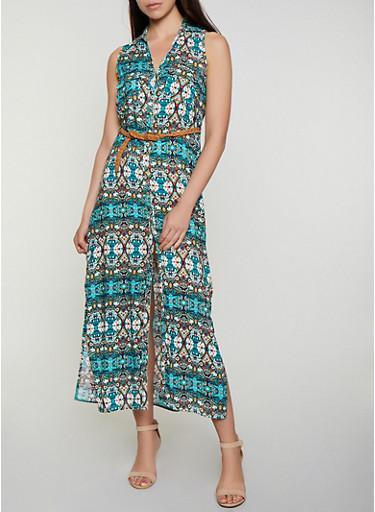 Printed Sleeveless Maxi Shirt Dress,TEAL,large