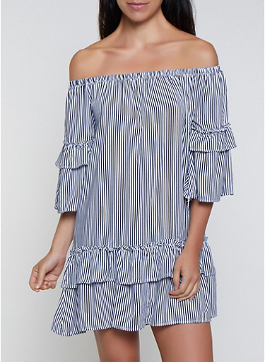 Tiered Off the Shoulder Striped Dress,NAVY,large