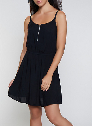 Zip Neck Skater Dress,BLACK,large